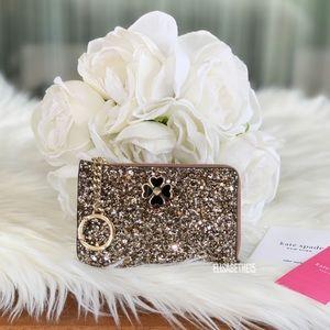 Kate Spade Odette Glitter Medium L-Zip Card Holder